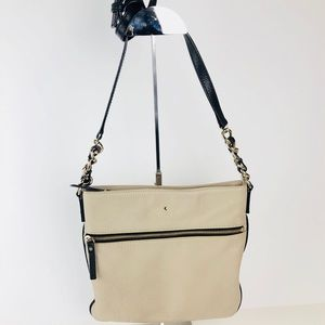 Kate Spade Beige Black Leather Crossbody Bag